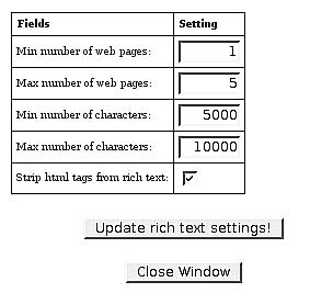 Rich, Full-text Settings: Number of Pages and Amount of Text