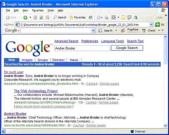 Figure 4: Search results by Google as of 22 January 2003