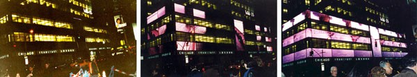 Times Square: Building transformation through time, from static mass (left) to a dynamic space (right)