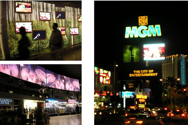 Las Vegas, LCDs attract on different levels: pedestrian, car and highway