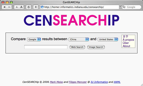 Figure 1: The home page of CenSEARCHip