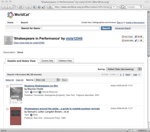 Figure 3: ince WorldCat has added COinS tags to their Lists service, the site has automatically become Zotero-compatible