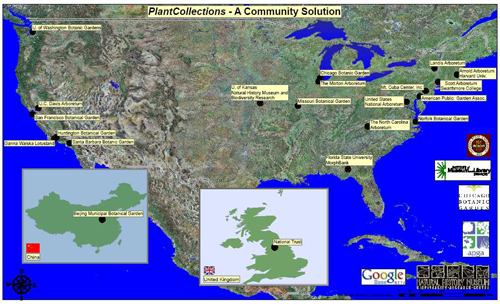 Figure 1: Geographic distribution of PlantCollections participants including lead partners in China and England