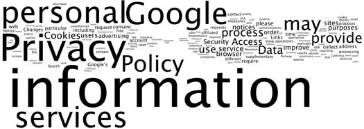 Figure 1: A visualization of Google's current privacy policy
