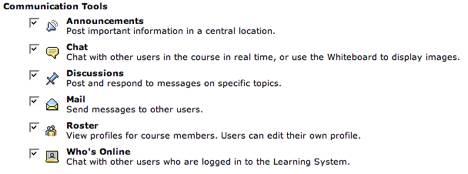 Figure 3: Blackboard CE 6 communication tools