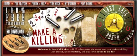 Figure 5: The entry point to Last Call Poker, which looked like a simple online poker site
