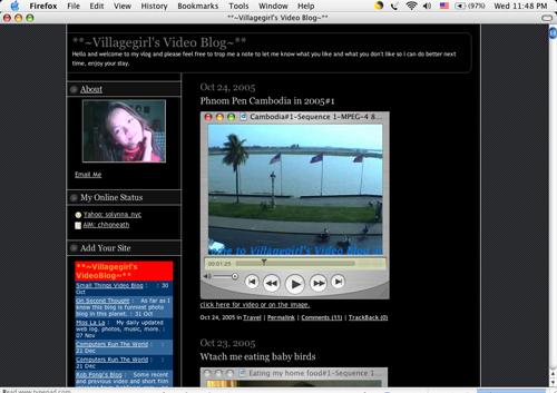Figure 8: Villagegirl Video Blog