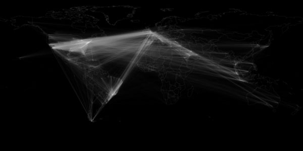 Network map showing locations of users retweeting other users (georeferenced Twitter Decahose tweets 23 October 2012 to 30 November 2012)