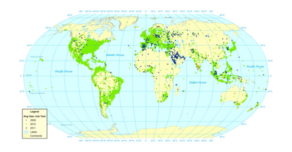 Average year user joined Twitter (all georeferenced users posting a tweet in the Twitter Decahose 23 October 2012 to 30 November 2012)