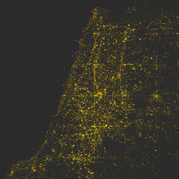 Plot of location metadata for Tel Aviv photos over a three-month period