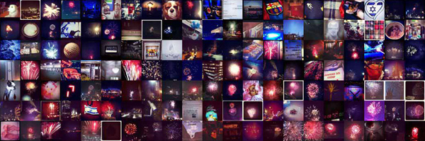 A close-up of the visualization that captures users documenting the fireworks as part of Independence Day eve celebrations