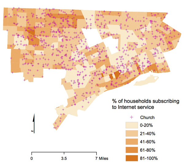 Distribution of churches in Detroit and Internet subscription rates