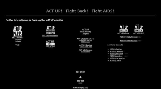 ACT UP homepage