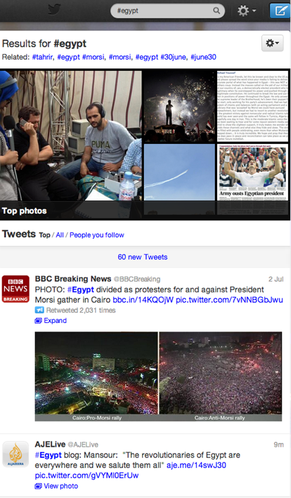 The most popular tweets posted to #egypt, those that have been retweeted by most users, come from authoritative sources