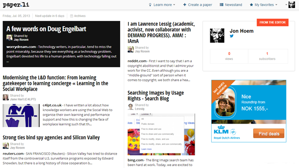 Paper.li pages look like an online newspaper, apart from the absence of an editorial staff