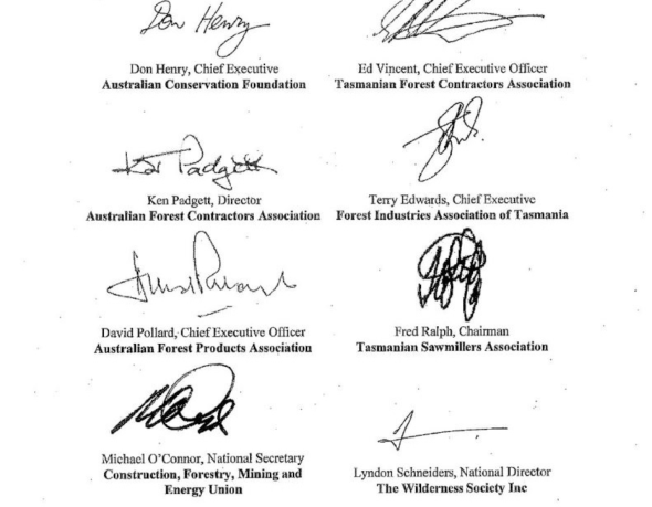 Australian Conservation Foundation and the Wilderness Society as signatories to the Tasmanian Forests Agreement