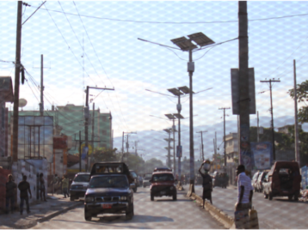 Solar-powered street lamps in Port-au-Prince