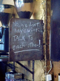 Chalk board with no Wi-Fi sign in a coffee shop