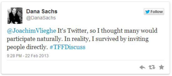 Reflections by Dana Sachs on the topic of audience engagement in light of her Twitter Fiction Festival contribution