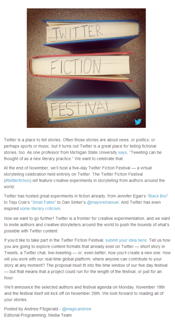 Announcement and call for proposals of the Twitter Fiction Festival 2012 shared on the official Twitter blog
