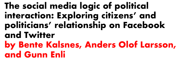 The social media logic of political interaction: Exploring citizens' and politicians' relationship on Facebook and Twitter by Bente Kalsnes, Anders Olof Larsson, and Gunn Enli