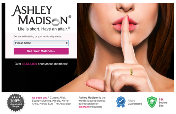 Ashley Madison welcome page