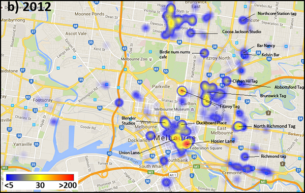 Image density heat map of Instagram media tagged with #MelbourneStreetArt, 2012