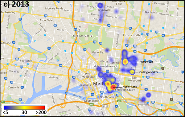 Image density heat map of Instagram media tagged with #MelbourneStreetArt, 2013