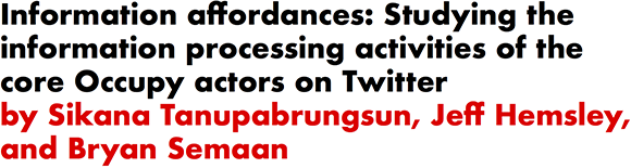 Information affordances: Studying the information processing activities of the core Occupy actors on Twitter by Sikana Tanupabrungsun, Jeff Hemsley, and Bryan Semaan