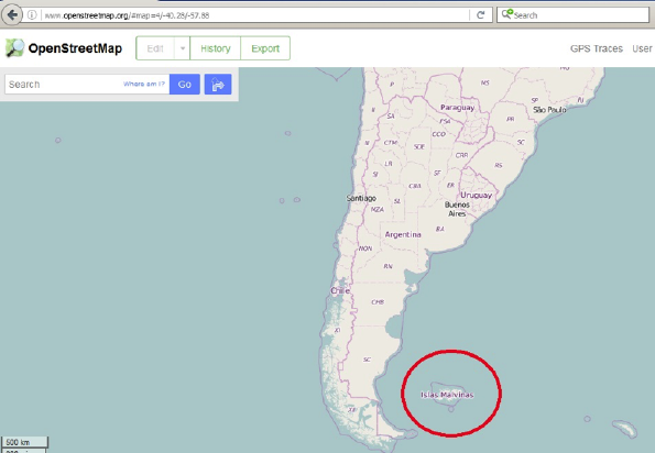 Islas Malvinas name in the main map at openstreetmap.org on 19 July 2016