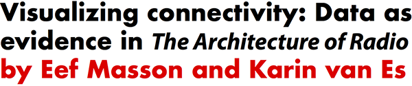 Visualizing connectivity: Data as evidence in The Architecture of Radio by Eef Masson and Karin van Es