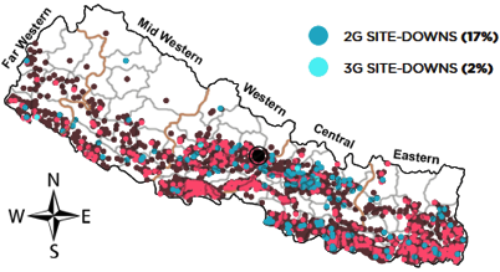 Distribution of 2G (brown) and 3G (pink) sites