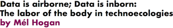 Data is airborne; Data is inborn: The labor of the body in technoecologies by Mel Hogan