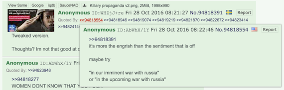 Content posted to /pol/, followed by critique and development