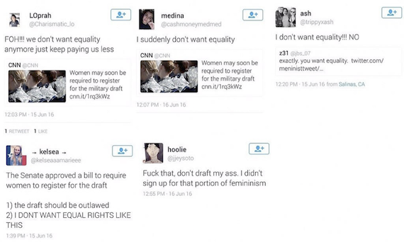 Sample of reactions from Twitter users to #DraftOurDaughters