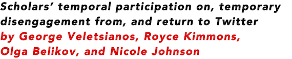 Scholars' temporal participation on, temporary disengagement from, and return to Twitter by George Veletsianos, Royce Kimmons, Olga Belikov, and Nicole Johnson