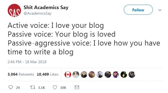 Tweet about voice from @AcademicsSay, 18 March 2018