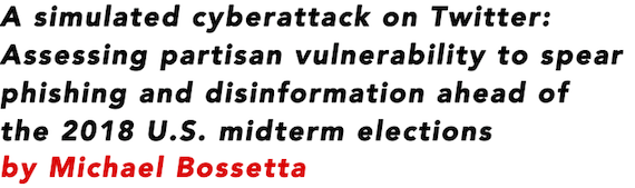 A simulated cyberattack on Twitter: Assessing partisan vulnerability to spear phishing and disinformation ahead of the 2018 U.S. midterm elections by Michael Bossetta